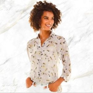 Cabi | Floral Print Sheer Gray Button-Down Blouse
